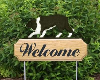 Border Collie Welcome Garden Stake