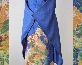 Second hand kimono, Japanese vintage formal kimono, iro-tomesode, silk, blue, peony