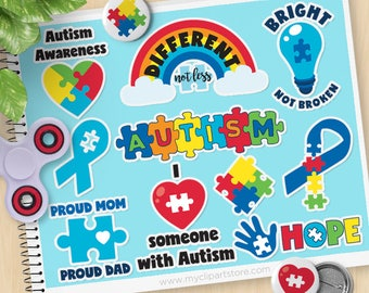 Autism Awareness Clipart, Autism Stickers, Special needs, Autistic, Autism Spectrum Ribbon, Commercial Use, Vector clip art, SVG Cut Files