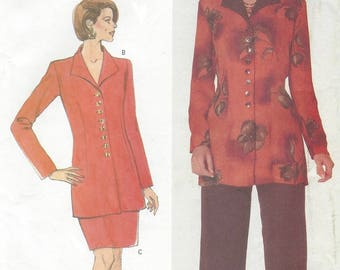 90s Womens Button Front Tunic, Pencil Skirt & Pants Butterick Sewing Pattern 5258 Size 14 16 18 Bust 36 38 40 UnCut Perfect for Office