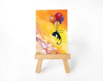 Black Cat ACEO Art Original Painting, Balloon Decor, Cat Lover, Pet Memorial Gift, In Memory, Sunrise Artwork, Pet Loss
