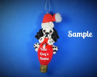 Cocker Spaniel Black and White Parti OOAK Santa Dog Christmas Light Bulb Ornament Sally's Bits of Clay PERSONALIZED FREE with dog's name