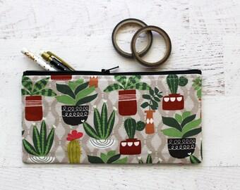 Teachers gift - cactus pencil pouch - cactus pencil bag - planner bag - cactus bag - pen pouch - BUJO accessories bag - cactus lover gift