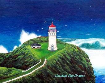 KILAUEA LIGHTHOUSE Kauai Giclee print by Vickie Peters