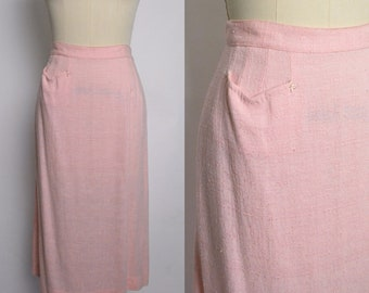 Vintage 1950s Skirt 50s Straight Pink High Waisted Rayon Top Stitch Rock n Roll