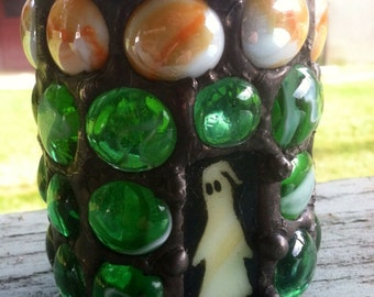 Gothic Heavy Stained Glass Painted Mosaic Ghost Castle Candle Holder Halloween