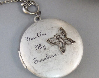 Sunshine Butterfly,Inspirational jewlery,Locket,Silver Locket,Butterfly,Antique Locket,Antique,Woodland,Love You,Fly,Wing valleygirldesigns.