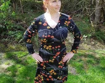 Black Floral 70's Dress