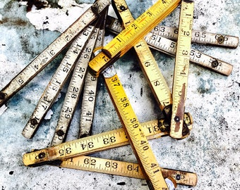 Cacophany of Vintage Wooden Folding Ruler||Scientific Decor||Metric System||Vintage School