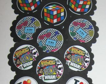 80's Decade Cupcake Toppers/Party picks Item #1704