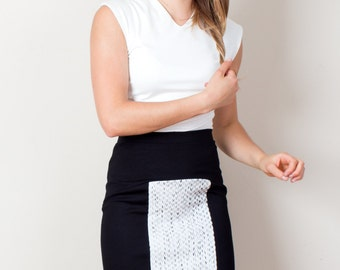 High waist skirt, pencil skirt, work skirt, black pencil skirt, black and white, elegant skirt, professional skirt