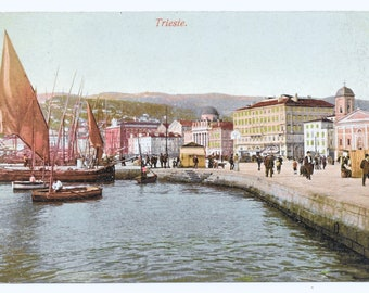 Trieste Seafront Photo Postcard, c. 1910