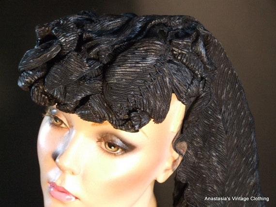 Vintage Victorian - Black Silk Mourning Hat in Excellent Condition