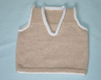 Beige and white knit 3 month baby tank top