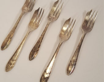Loxley Pastry Fork SHEFFIELD ENGLAND MS Ltd. Silverplate Dessert Set of 5