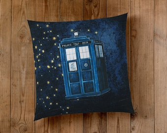Decorative Pillow of The Tardis, Blue Police Box traveling through time and space