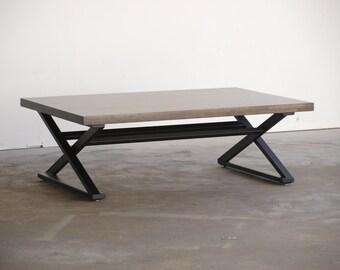Modern X frame console table Ebony Beech wood top