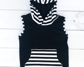 Black and white stripe kid toddler baby boy shirt