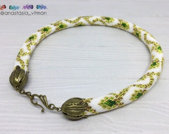 Bead Crochet Rope necklace - Green Necklace - Gold Necklace