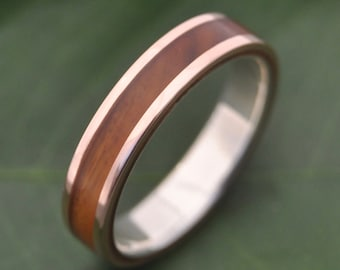 Size 9, 5mm READY TO SHIP Rose Gold Lados Guayancan Wood Ring - ecofriendly wood wedding band, 14k red gold exterior with sterling interior