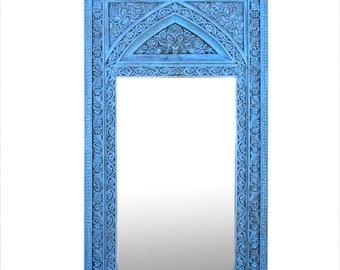 Tall Turquoise Moorish Mirror, Indian Floor Mirror, Carved Floor Mirror, Blue Carved Mirror, Tall Floor Mirror,  Moroccan Carved Full Mirror