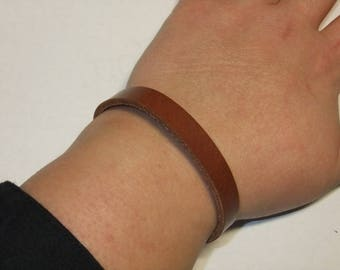 Natural vegetable tanned leather bracelet