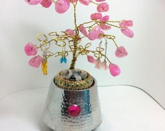 Earring tree handmade wirewrapped pink beaded tree