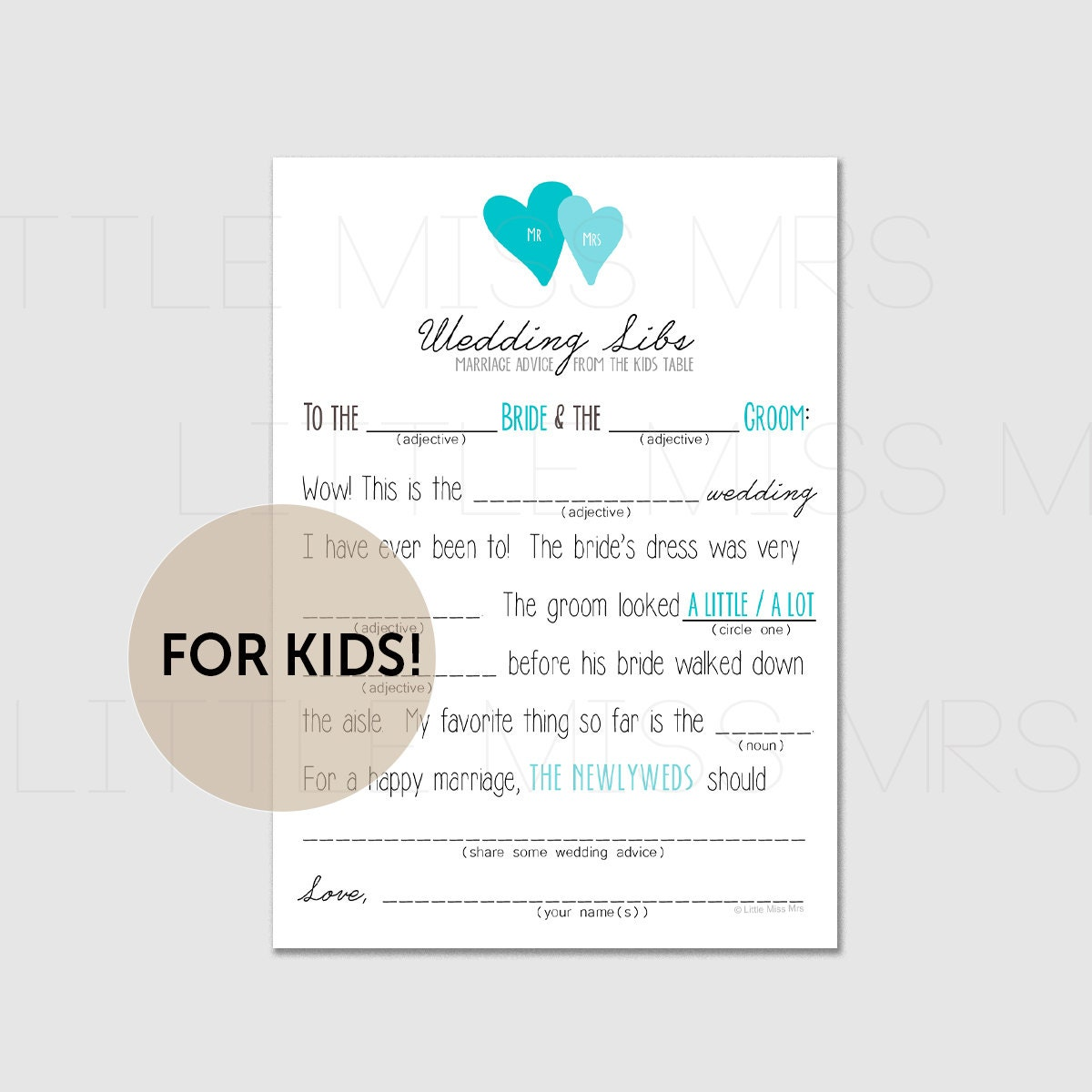 marriage advice from the Kids table! // Printable mad lib wedding ...