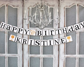 Happy Birthday Custom Name Signs- 21st 40th 50th Birthday Decorations and Name - Wine Tasting birthday Party decorations