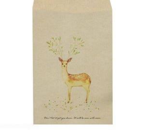 2 enveloppes/pochettes craft motif faon