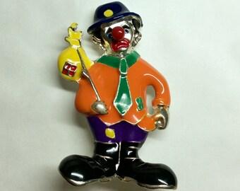 Sad Clown Homeless Circus Big Top vintage silver tone brooch / pin