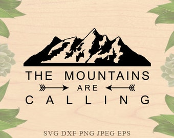 Mountains are calling SVG Mountains Svg Adventure svg Cabin svg Winter Eps skiing svg for Silhouette Studio Cricut files Cricut download Dxf