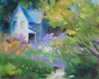 Oil Painting of Country House and Spring Trees. Small Masterpiece Landscape by Frankie Johnson.  Collectible Art