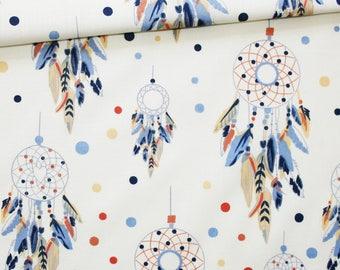 Dream catcher, 100% cotton fabric printed 50 x 160 cm, dream catchers blue, peach, orange on an ecru background