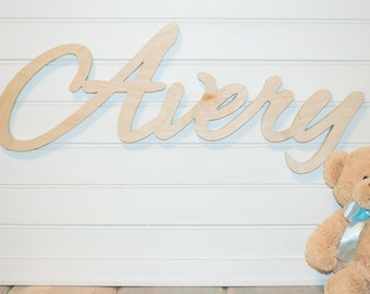 wooden baby  Name Plaque DIY Large Unpainted Personalized nursery name baby name wall hanging nursery decor wooden wall art, above a crib