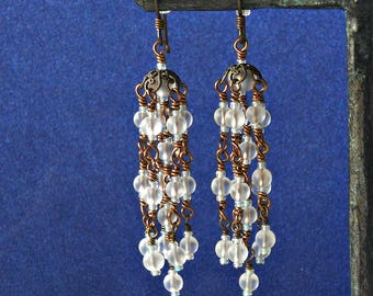 Frosted Glass Cascade Earrings, Hypoallergenic, Wire Wrapped Artificial Sea Glass, Chandelier Party Earrings - FREE Shipping