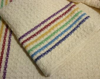 Handwoven Tea Towel Dishtowel - Rainbow Stripes