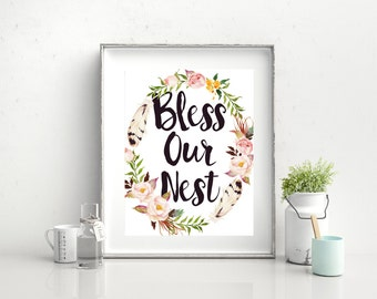bless our nest sign, bless our nest, bless our home sign, home gifts, bless our home, printable wall art, home decor, housewarming gift