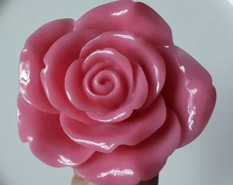 Large Pink Rose Ring adjustable