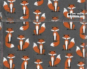 EcoBagIt! MR. FOX XL - Keep Fresh reusable sandwich bag| Reusable Snack Bags | Zero Waste | Food Storage Bags | Waterproof | Snack Bag