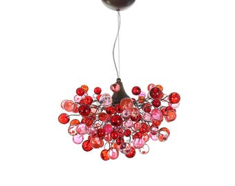 Home Lighting -Bubbles light fixtures, red and pink bubbles hanging lamp for children room or dining room.
