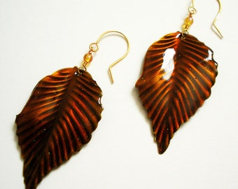 Handmade Dangle Earrings with Autumn leaves on gold wire