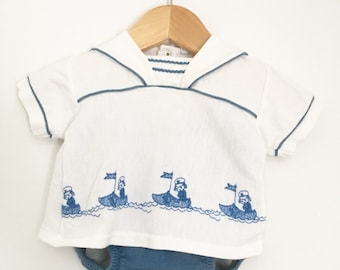 1950s Cotton Embroidered Nautical Shirt and Bloomers