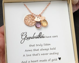 SHIPS NEXT DAY-Grandma Gift Birthstone Charm Necklace Grandmother Gift Necklace Grandma Gift from Grandchildren
