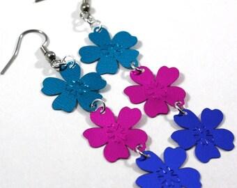 Hawaiian Luau Flower Earrings Teal Purple & Blue Metallic Dangles Plastic Sequin Jewelry