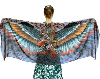 Feather Wings Scarf, Shawl Wings, Women Scarf, Gift For Her, Women Shawl, Wife Gift, Cape Shawl, Wing Shawl, Bird Angel Scarf, Bird Scarf