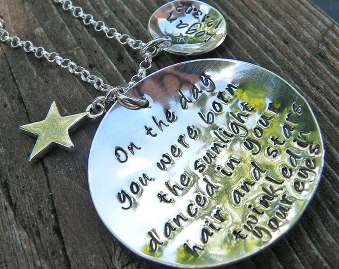 On the Day You Were Born - Custom Sterling Silver Hand Stamped Necklace - Child Name Charm - Artisan Mom Necklace - Star - Birth Necklace