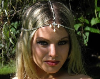 Wedding Headpiece, Goddess Headpiece, Chain Rhinestone Headpiece Bridal BOHO Bohemian Headpiece Hippie Hair jewelry Silver