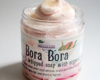 Bora Bora 8 oz Creme Fraiche Whipped Soap Sugar Scrub Organic Sugar