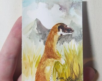 "Original ACEO ""Long-tailed Weasel"""
